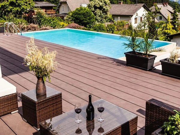 Composite deck with pool attached